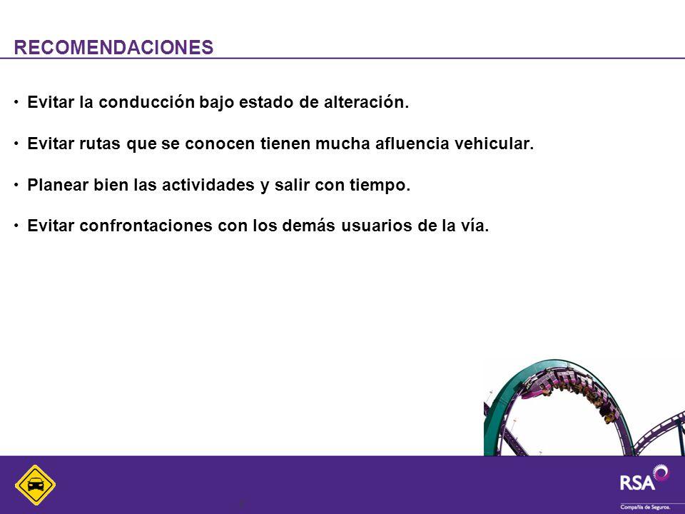 8 RECOMENDACIONES Evitar la conducción bajo estado de alteración.