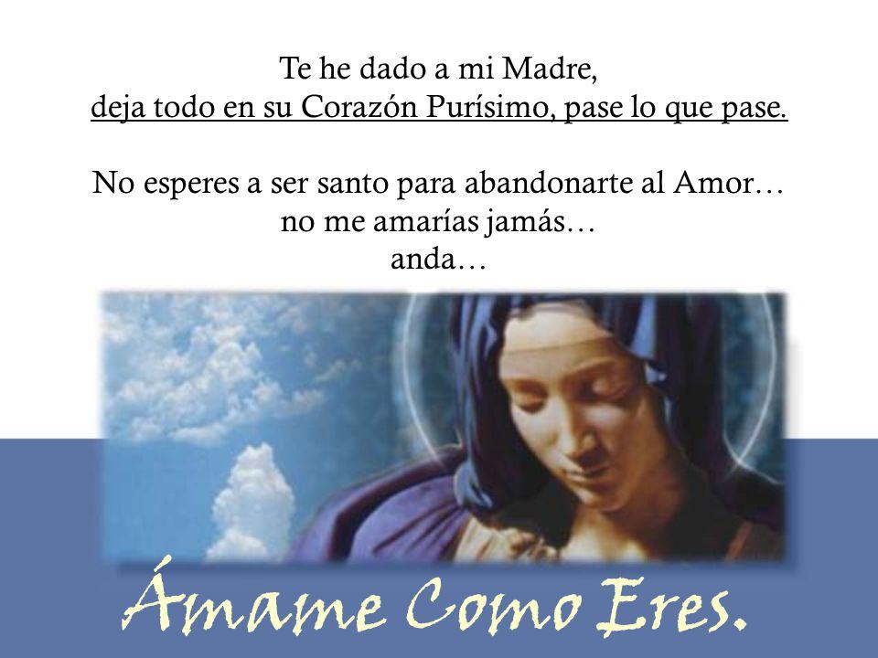Te he dado a mi Madre, deja todo en su Corazón Purísimo, pase lo que pase. No esperes a ser santo para abandonarte al Amor… no me amarías jamás… anda…