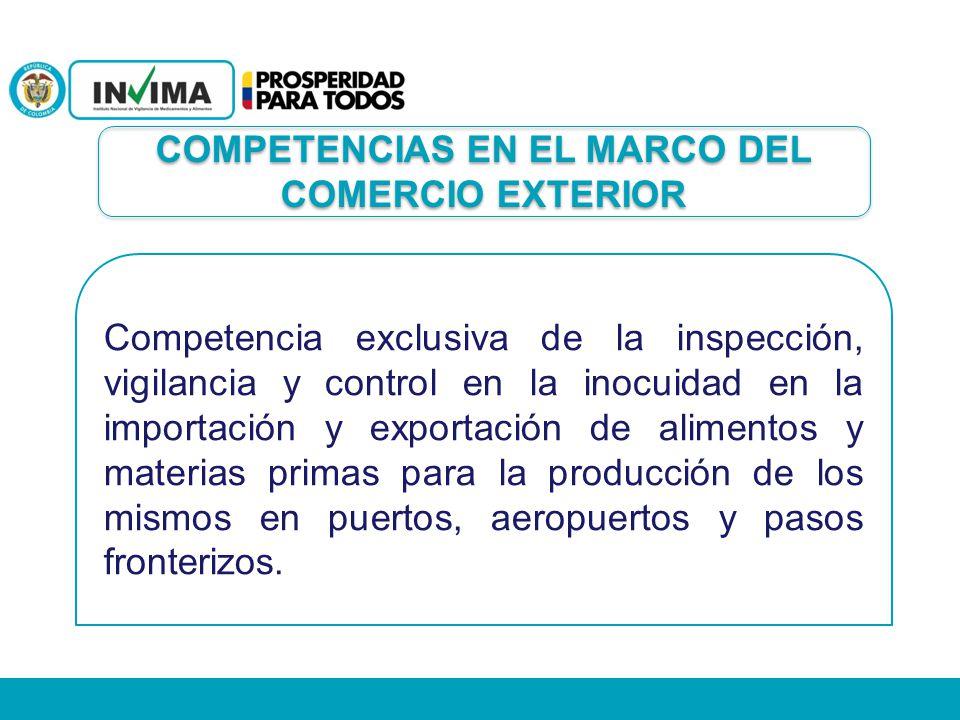 Competencia exclusiva de la inspección, vigilancia y control en la inocuidad en la importación y exportación de alimentos y materias primas para la pr