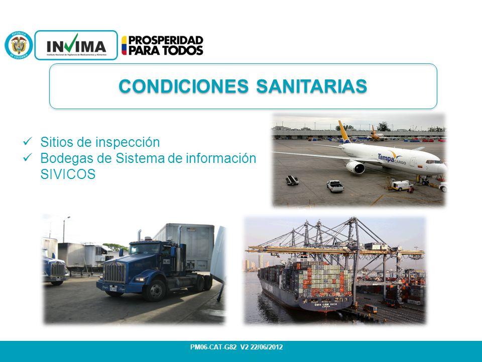 Sitios de inspección Bodegas de Sistema de información SIVICOS PM06-CAT-G82 V2 22/06/2012 CONDICIONES SANITARIAS