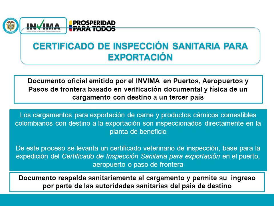 Documento oficial emitido por el INVIMA en Puertos, Aeropuertos y Pasos de frontera basado en verificación documental y física de un cargamento con de