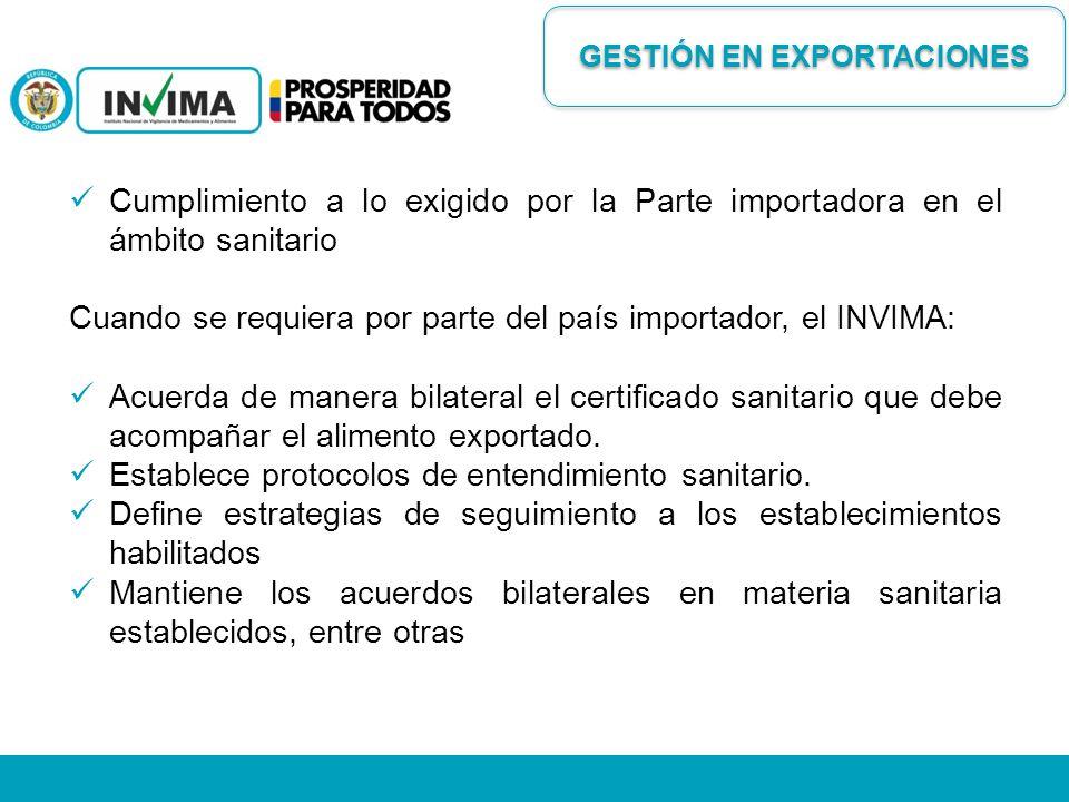 Cumplimiento a lo exigido por la Parte importadora en el ámbito sanitario Cuando se requiera por parte del país importador, el INVIMA: Acuerda de mane