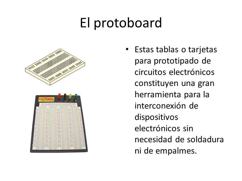 El protoboard Estas tablas o tarjetas para prototipado de circuitos electrónicos constituyen una gran herramienta para la interconexión de dispositivo