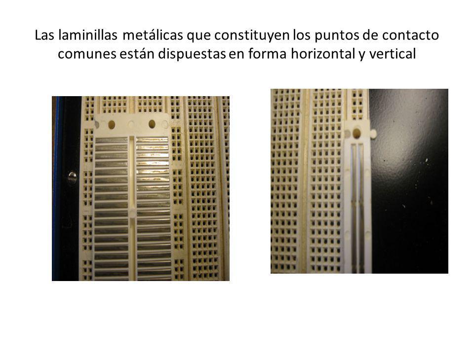 Las laminillas metálicas que constituyen los puntos de contacto comunes están dispuestas en forma horizontal y vertical