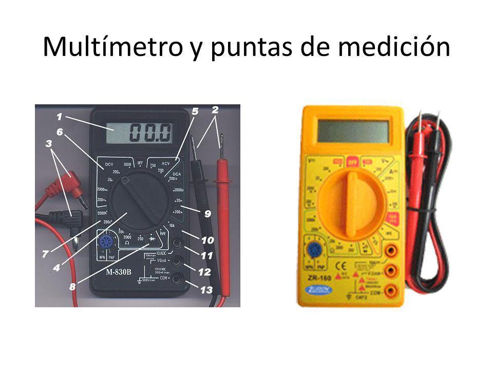Multímetro y puntas de medición