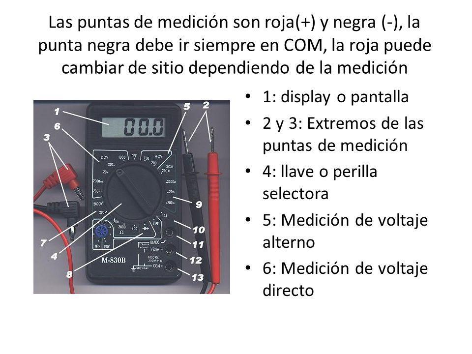 Las puntas de medición son roja(+) y negra (-), la punta negra debe ir siempre en COM, la roja puede cambiar de sitio dependiendo de la medición 1: di