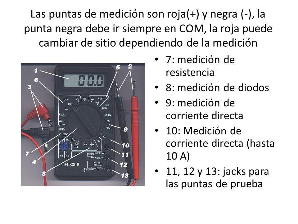 Las puntas de medición son roja(+) y negra (-), la punta negra debe ir siempre en COM, la roja puede cambiar de sitio dependiendo de la medición 7: me