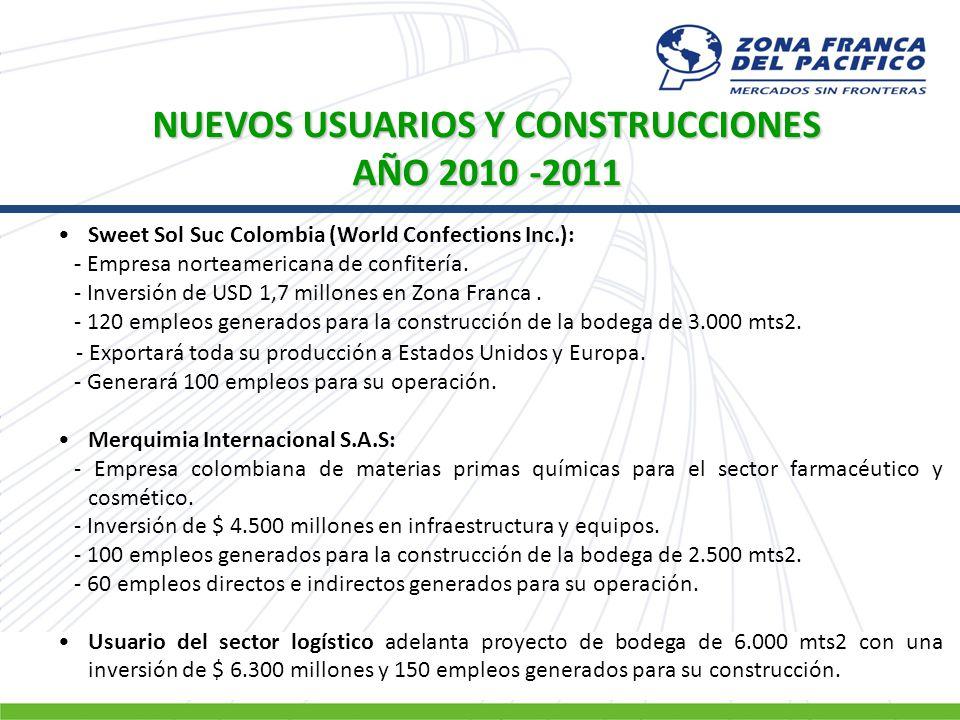 NUEVOS USUARIOS Y CONSTRUCCIONES AÑO 2010 -2011 Sweet Sol Suc Colombia (World Confections Inc.): - Empresa norteamericana de confitería. - Inversión d
