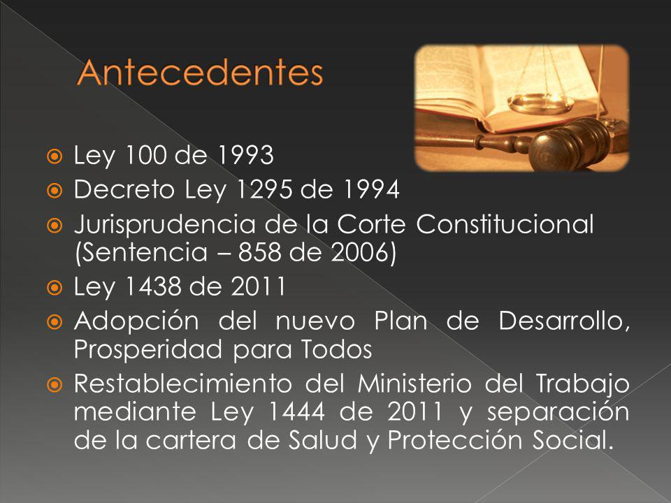 Establecimiento del Sector Administrativo de la inclusión y reconciliación Creación del Departamento Administrativo de la Prosperidad Social Legislación Programa Familias en Acción Creación de la Pensión Familiar (Objetada) Reforma Financiera y Acto Legislativo No.