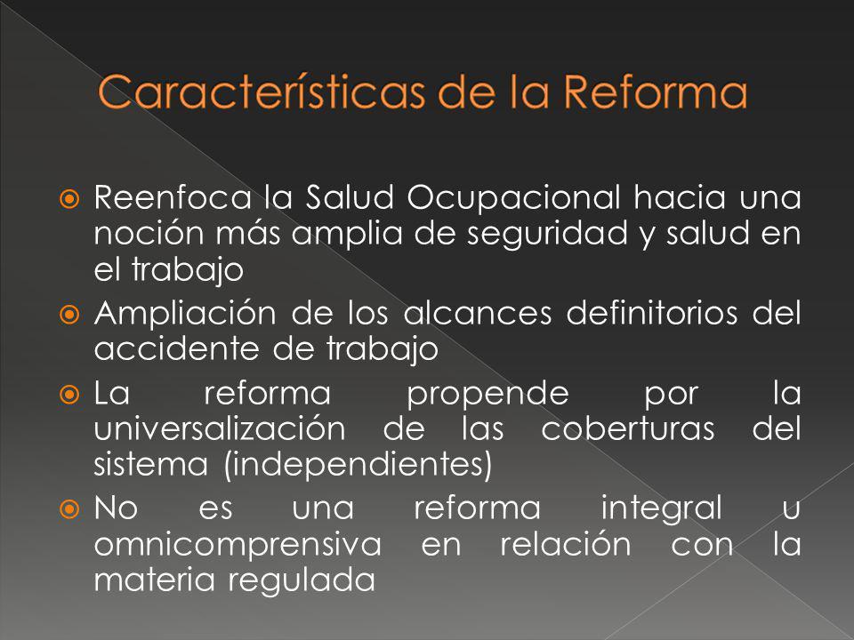 Es una reforma aditiva que debe interpretarse de forma articulada con las demás disposiciones vigentes Aplica el principio de la sostenibilidad No es una reforma prestacional