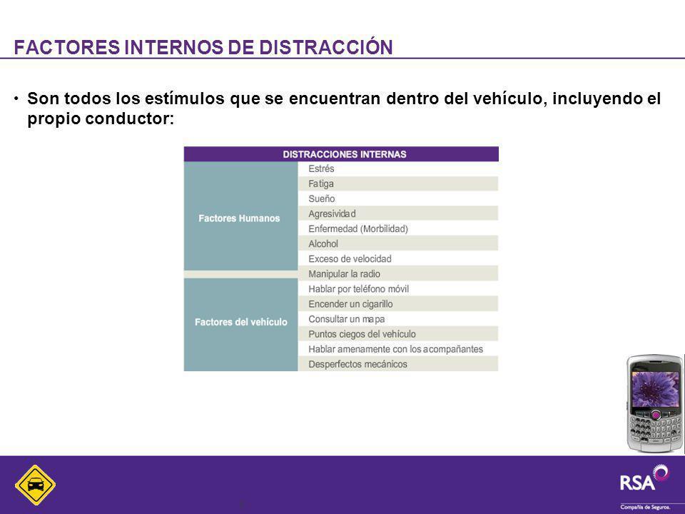 6 FACTORES INTERNOS DE DISTRACCIÓN Son todos los estímulos que se encuentran dentro del vehículo, incluyendo el propio conductor: