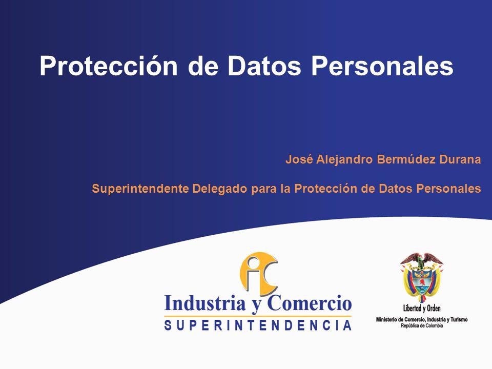 Protección de Datos Personales José Alejandro Bermúdez Durana Superintendente Delegado para la Protección de Datos Personales