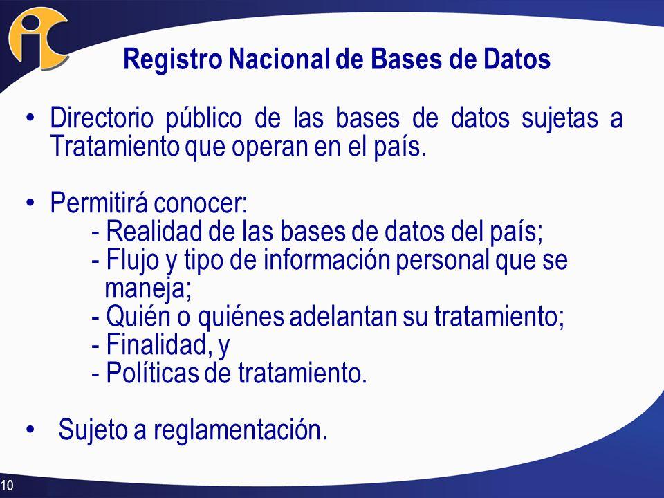 Registro Nacional de Bases de Datos Directorio público de las bases de datos sujetas a Tratamiento que operan en el país. Permitirá conocer: - Realida