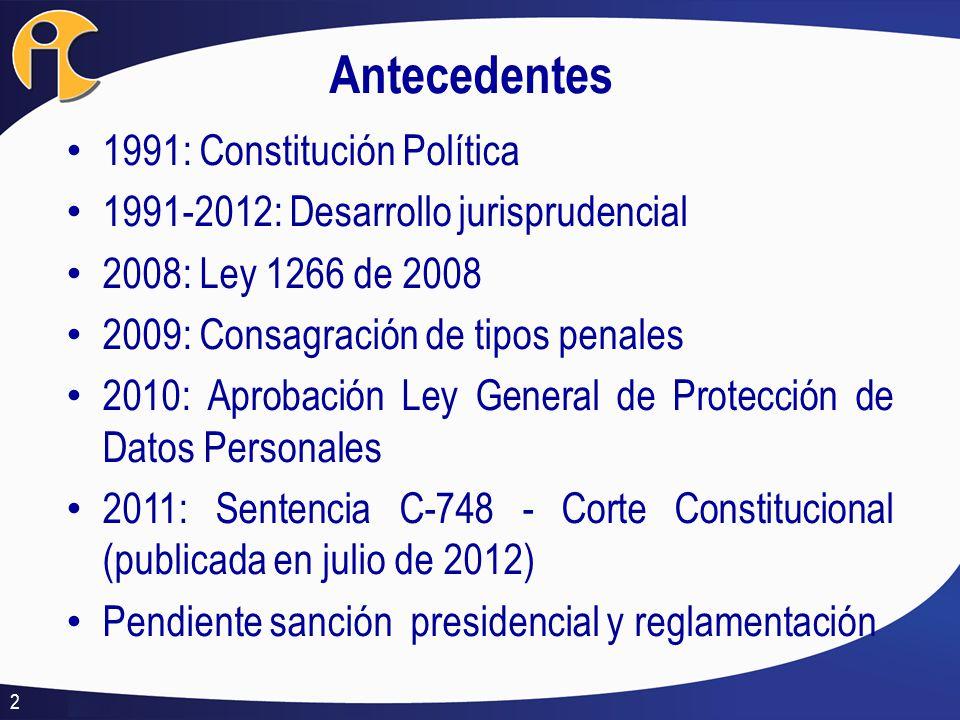 Antecedentes 1991: Constitución Política 1991-2012: Desarrollo jurisprudencial 2008: Ley 1266 de 2008 2009: Consagración de tipos penales 2010: Aproba