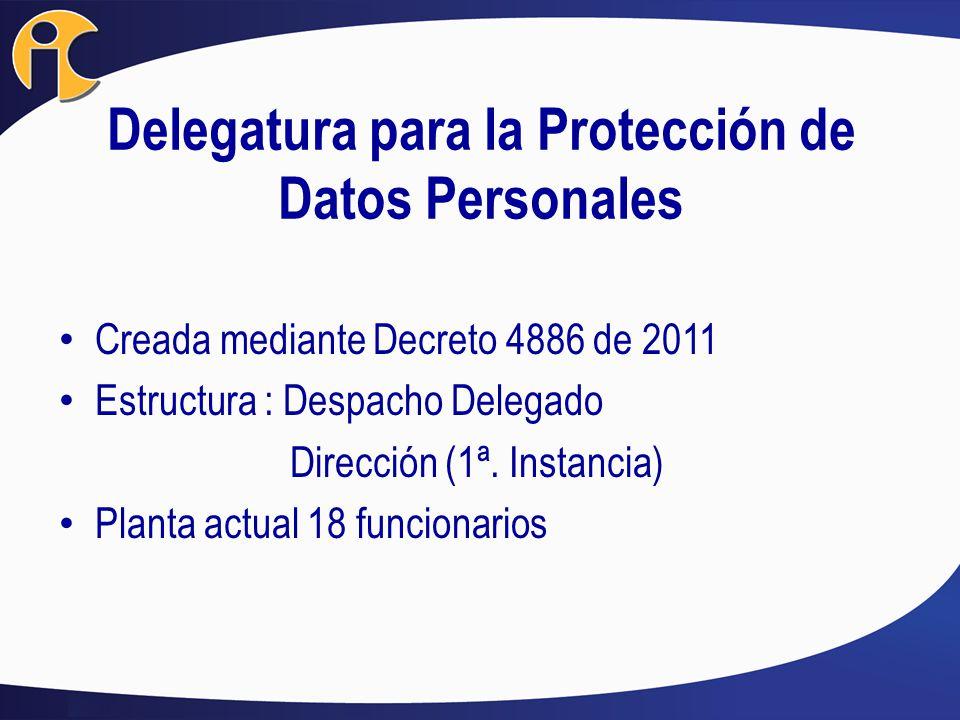 Delegatura para la Protección de Datos Personales Creada mediante Decreto 4886 de 2011 Estructura : Despacho Delegado Dirección (1ª. Instancia) Planta