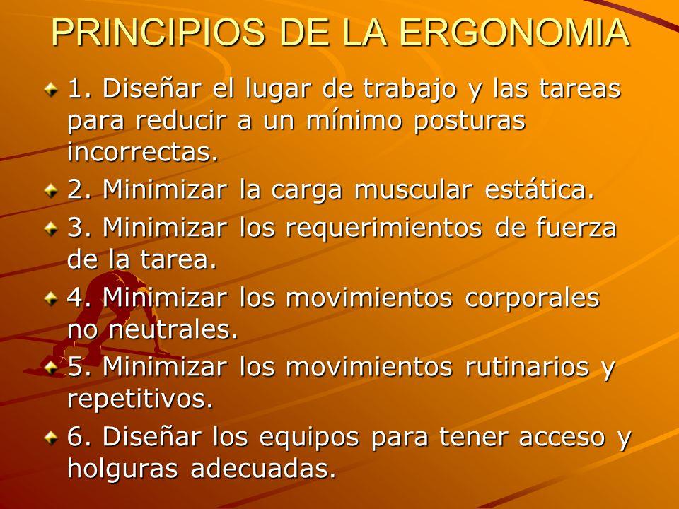 PRINCIPIOS DE LA ERGONOMIA 1. Diseñar el lugar de trabajo y las tareas para reducir a un mínimo posturas incorrectas. 2. Minimizar la carga muscular e