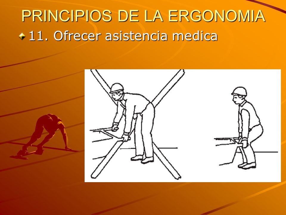 PRINCIPIOS DE LA ERGONOMIA 11. Ofrecer asistencia medica