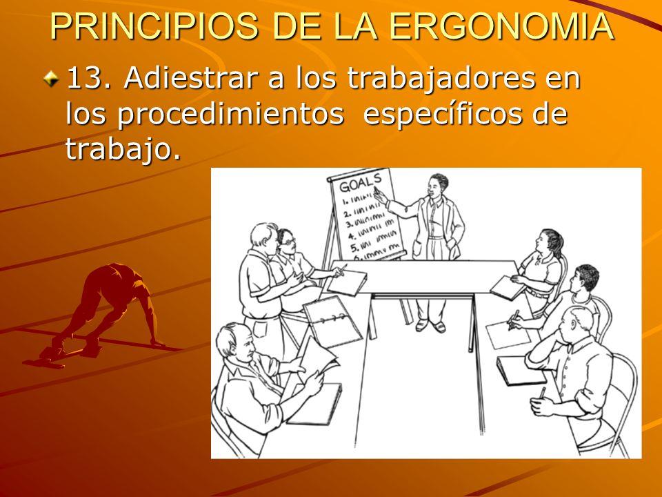 PRINCIPIOS DE LA ERGONOMIA 13. Adiestrar a los trabajadores en los procedimientos específicos de trabajo.