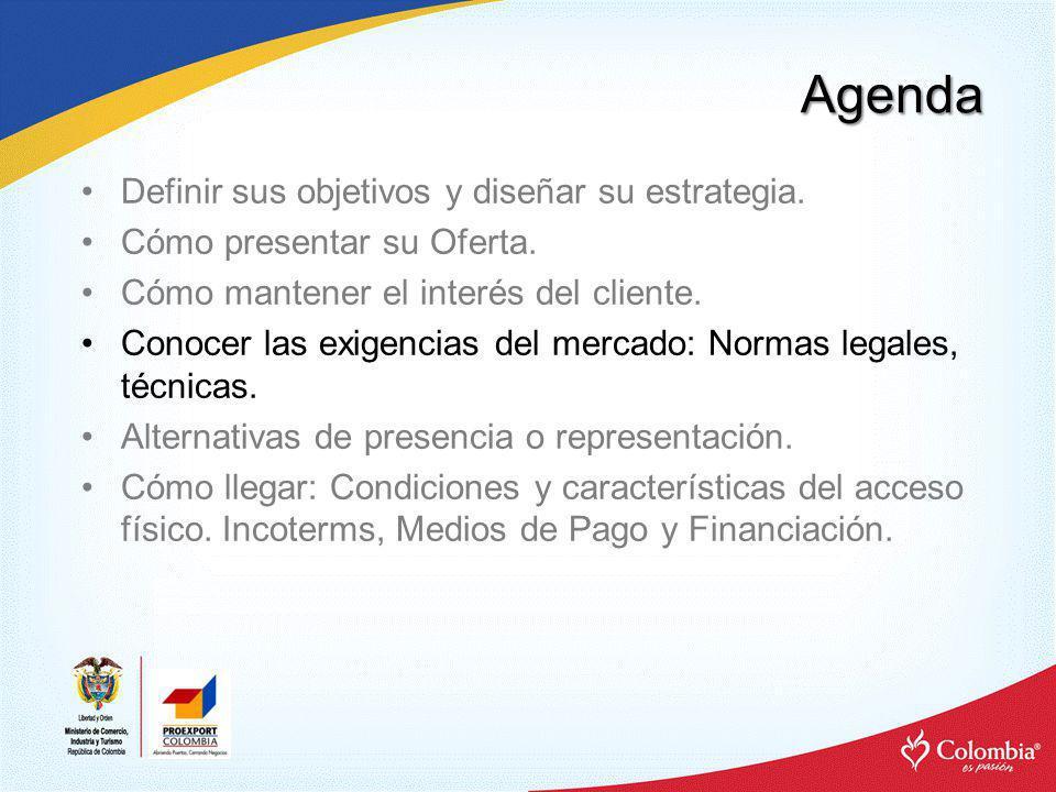 Agenda Definir sus objetivos y diseñar su estrategia. Cómo presentar su Oferta. Cómo mantener el interés del cliente. Conocer las exigencias del merca
