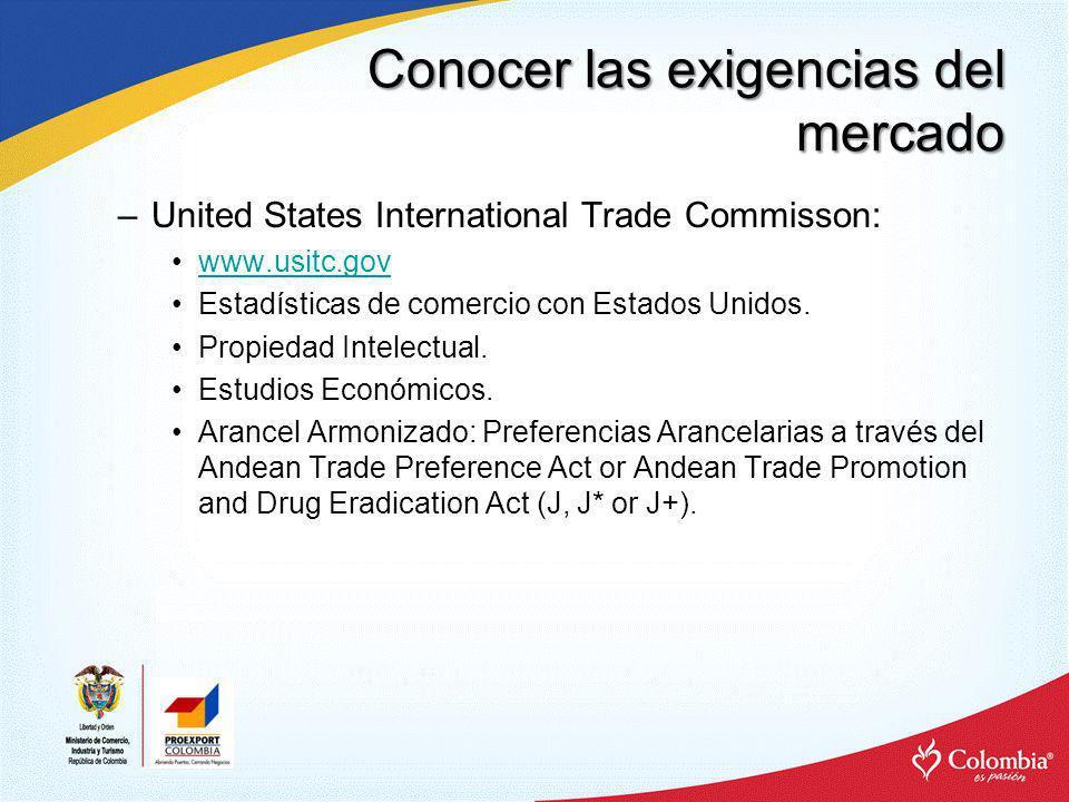 Conocer las exigencias del mercado –United States International Trade Commisson: www.usitc.gov Estadísticas de comercio con Estados Unidos. Propiedad