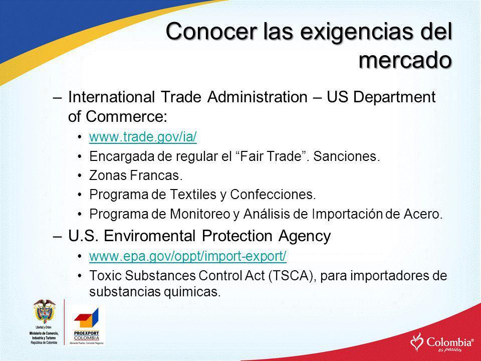 Conocer las exigencias del mercado –International Trade Administration – US Department of Commerce: www.trade.gov/ia/ Encargada de regular el Fair Tra