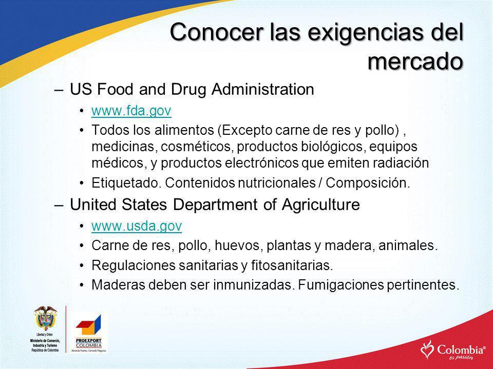 Conocer las exigencias del mercado –US Food and Drug Administration www.fda.gov Todos los alimentos (Excepto carne de res y pollo), medicinas, cosméti