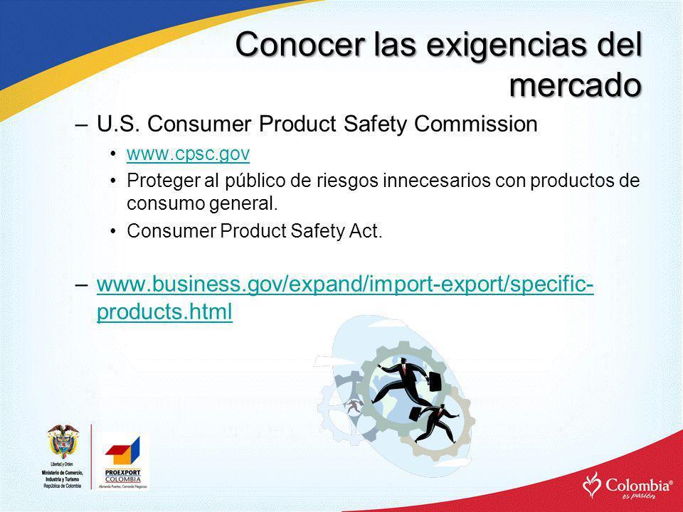 Conocer las exigencias del mercado –U.S. Consumer Product Safety Commission www.cpsc.gov Proteger al público de riesgos innecesarios con productos de