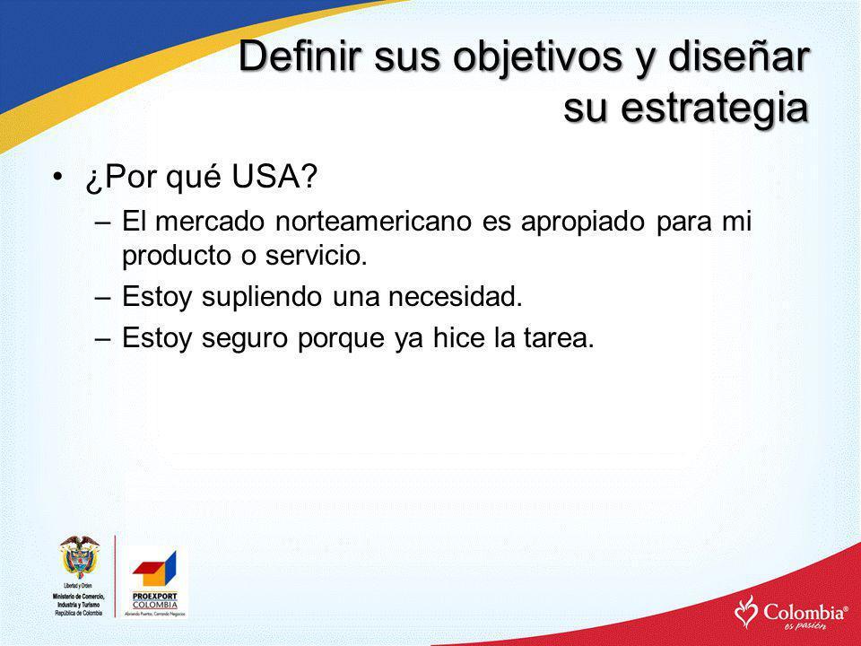 Definir sus objetivos y diseñar su estrategia ¿Por qué USA? –El mercado norteamericano es apropiado para mi producto o servicio. –Estoy supliendo una