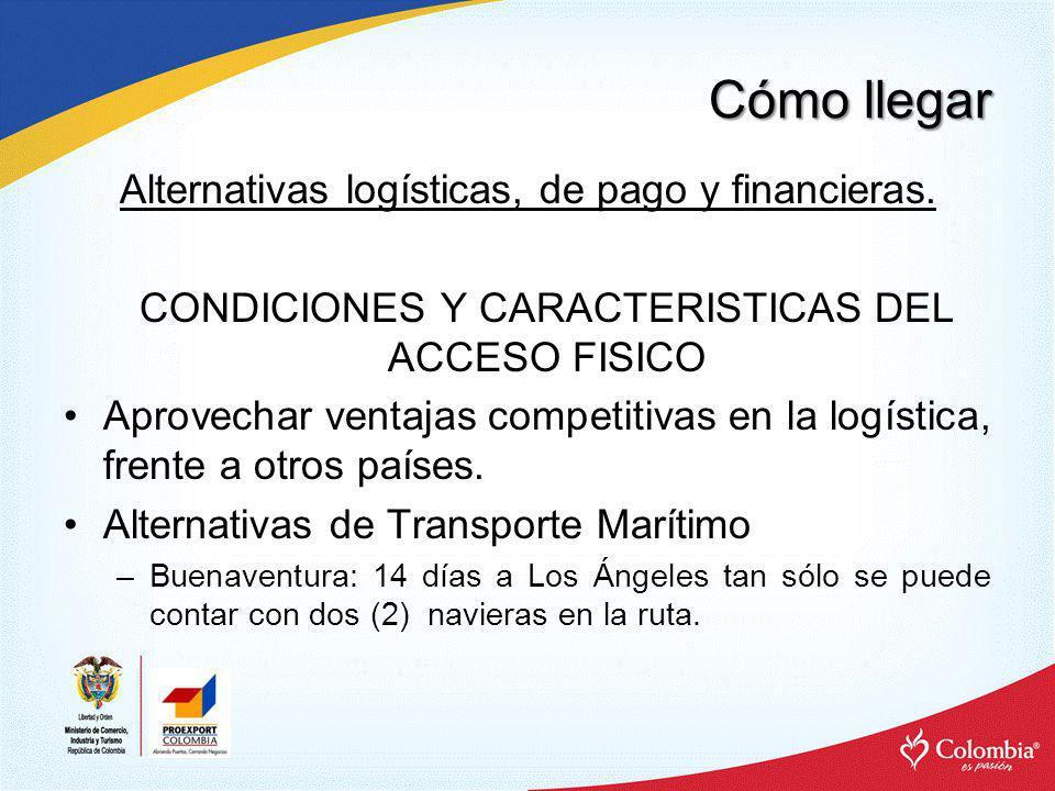 Cómo llegar Alternativas logísticas, de pago y financieras. CONDICIONES Y CARACTERISTICAS DEL ACCESO FISICO Aprovechar ventajas competitivas en la log