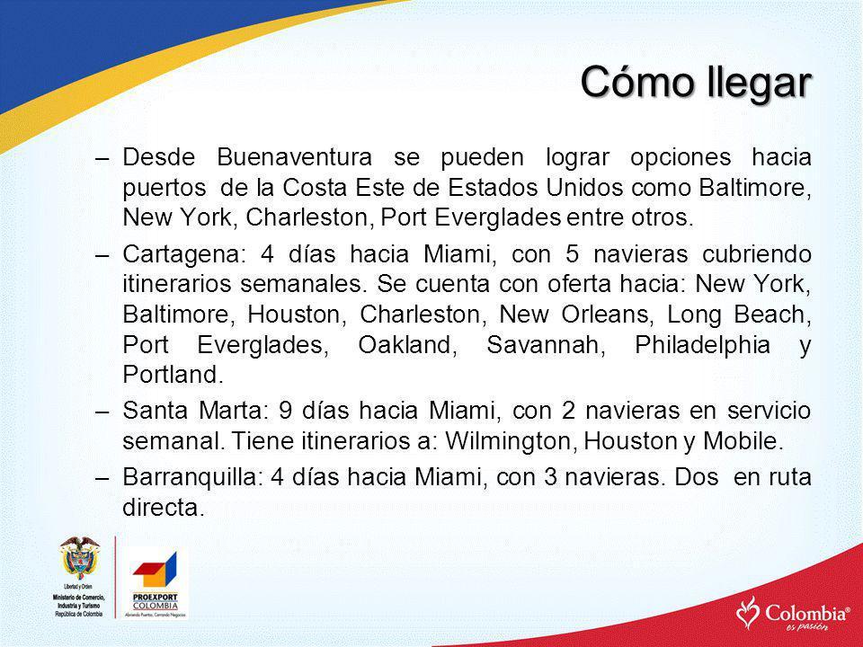 Cómo llegar –Desde Buenaventura se pueden lograr opciones hacia puertos de la Costa Este de Estados Unidos como Baltimore, New York, Charleston, Port