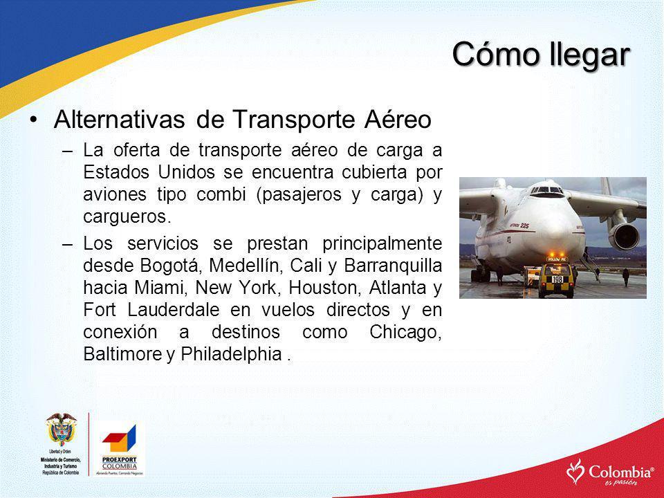 Cómo llegar Alternativas de Transporte Aéreo –La oferta de transporte aéreo de carga a Estados Unidos se encuentra cubierta por aviones tipo combi (pa