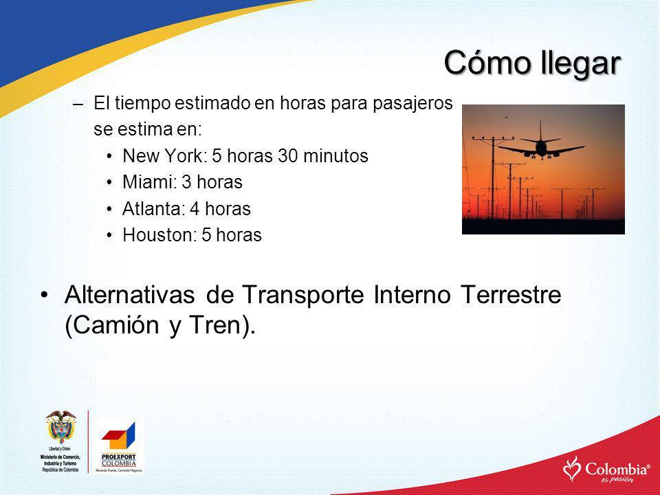 Cómo llegar –El tiempo estimado en horas para pasajeros se estima en: New York: 5 horas 30 minutos Miami: 3 horas Atlanta: 4 horas Houston: 5 horas Al