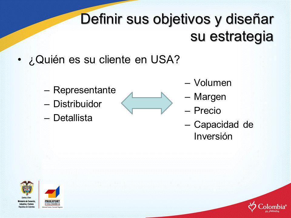 Definir sus objetivos y diseñar su estrategia ¿Quién es su cliente en USA? –Volumen –Margen –Precio –Capacidad de Inversión –Representante –Distribuid
