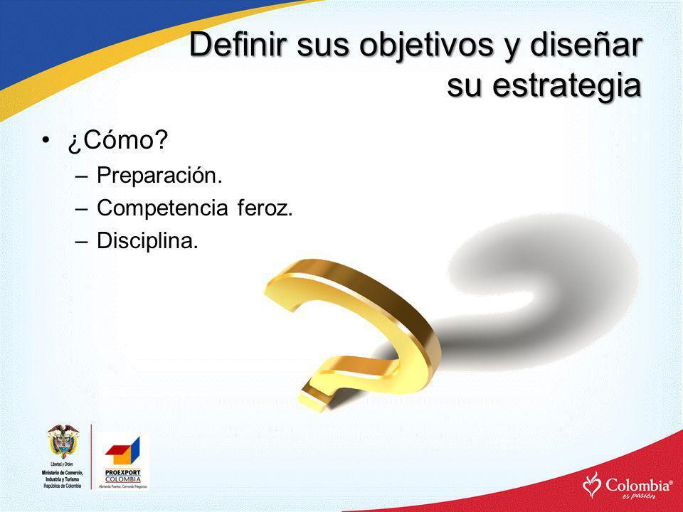 Definir sus objetivos y diseñar su estrategia ¿Cómo? –Preparación. –Competencia feroz. –Disciplina.