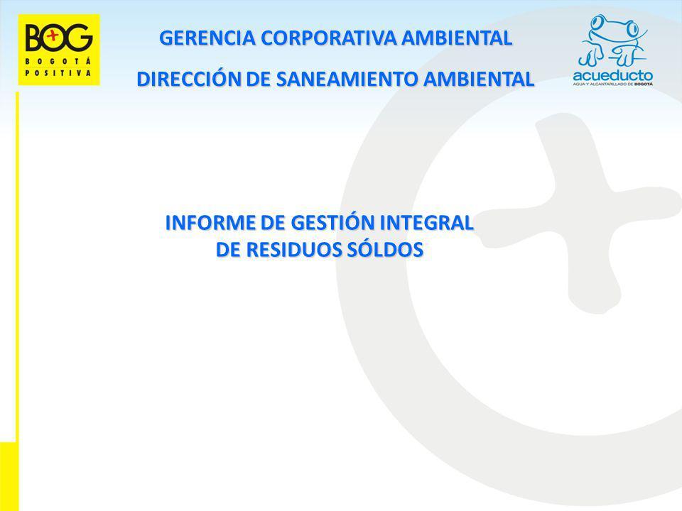 GERENCIA CORPORATIVA AMBIENTAL DIRECCIÓN DE SANEAMIENTO AMBIENTAL INFORME DE GESTIÓN INTEGRAL DE RESIDUOS SÓLDOS