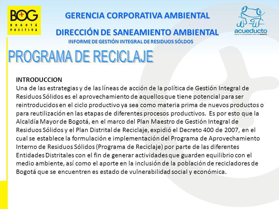 GERENCIA CORPORATIVA AMBIENTAL DIRECCIÓN DE SANEAMIENTO AMBIENTAL INFORME DE GESTIÓN INTEGRAL DE RESIDUOS SÓLDOS INTRODUCCION Una de las estrategias y