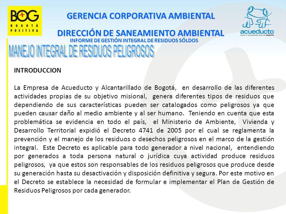 GERENCIA CORPORATIVA AMBIENTAL DIRECCIÓN DE SANEAMIENTO AMBIENTAL INFORME DE GESTIÓN INTEGRAL DE RESIDUOS SÓLDOS INTRODUCCION La Empresa de Acueducto
