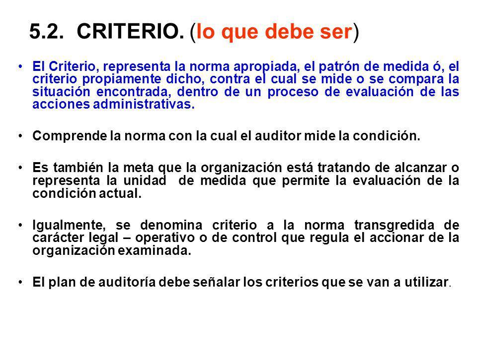 5.2.CRITERIO. (lo que debe ser) El Criterio, representa la norma apropiada, el patrón de medida ó, el criterio propiamente dicho, contra el cual se mi
