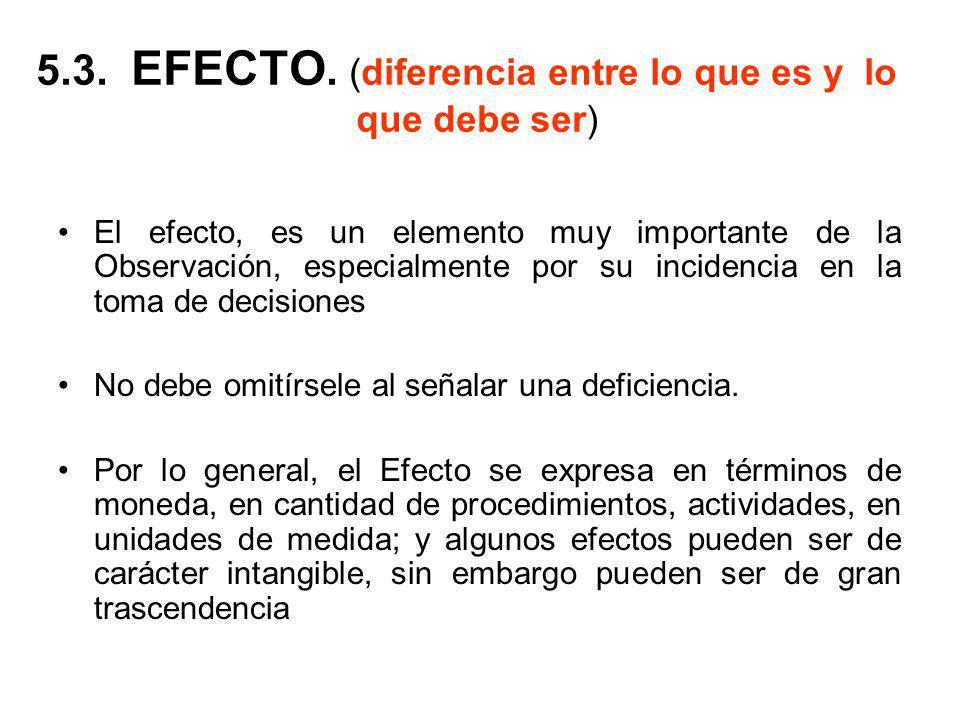 5.3. EFECTO. (diferencia entre lo que es y lo que debe ser) El efecto, es un elemento muy importante de la Observación, especialmente por su incidenci