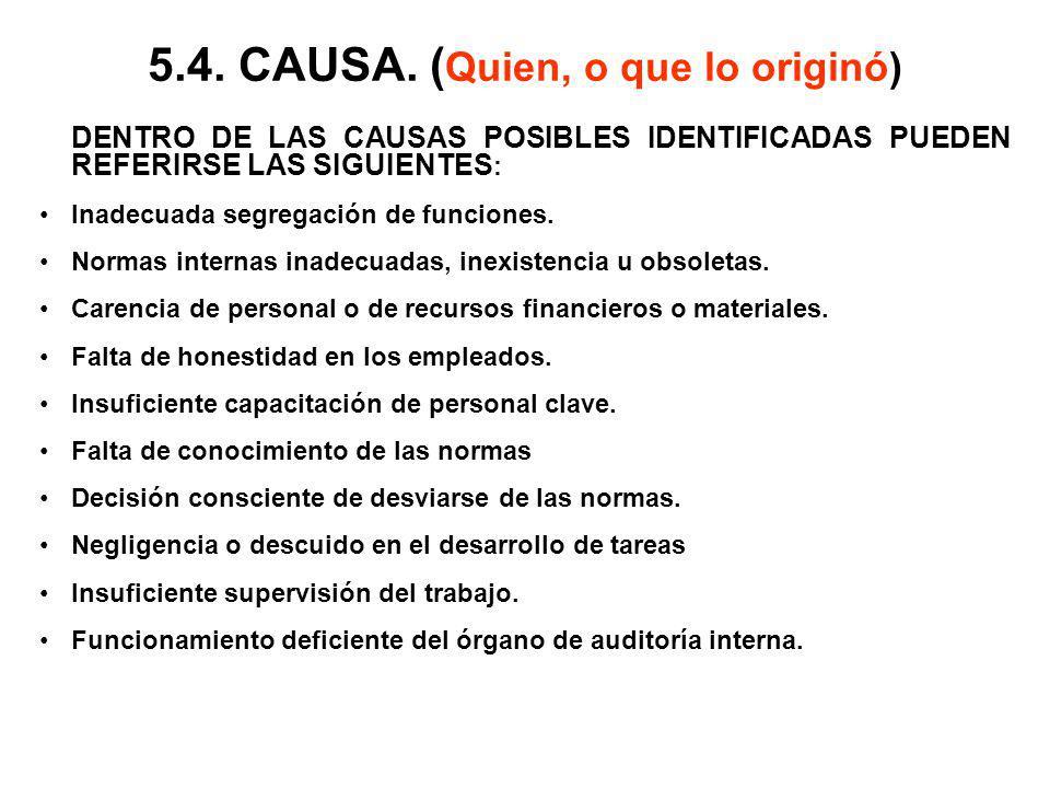 5.4. CAUSA. ( Quien, o que lo originó) DENTRO DE LAS CAUSAS POSIBLES IDENTIFICADAS PUEDEN REFERIRSE LAS SIGUIENTES : Inadecuada segregación de funcion