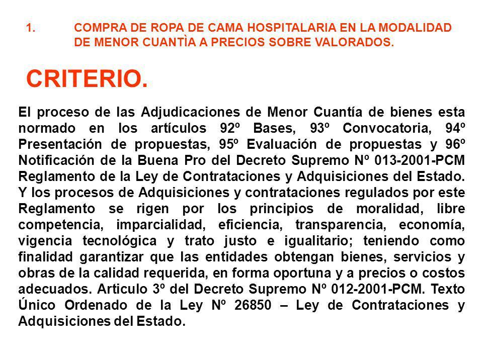 1.COMPRA DE ROPA DE CAMA HOSPITALARIA EN LA MODALIDAD DE MENOR CUANTÌA A PRECIOS SOBRE VALORADOS. CRITERIO. El proceso de las Adjudicaciones de Menor