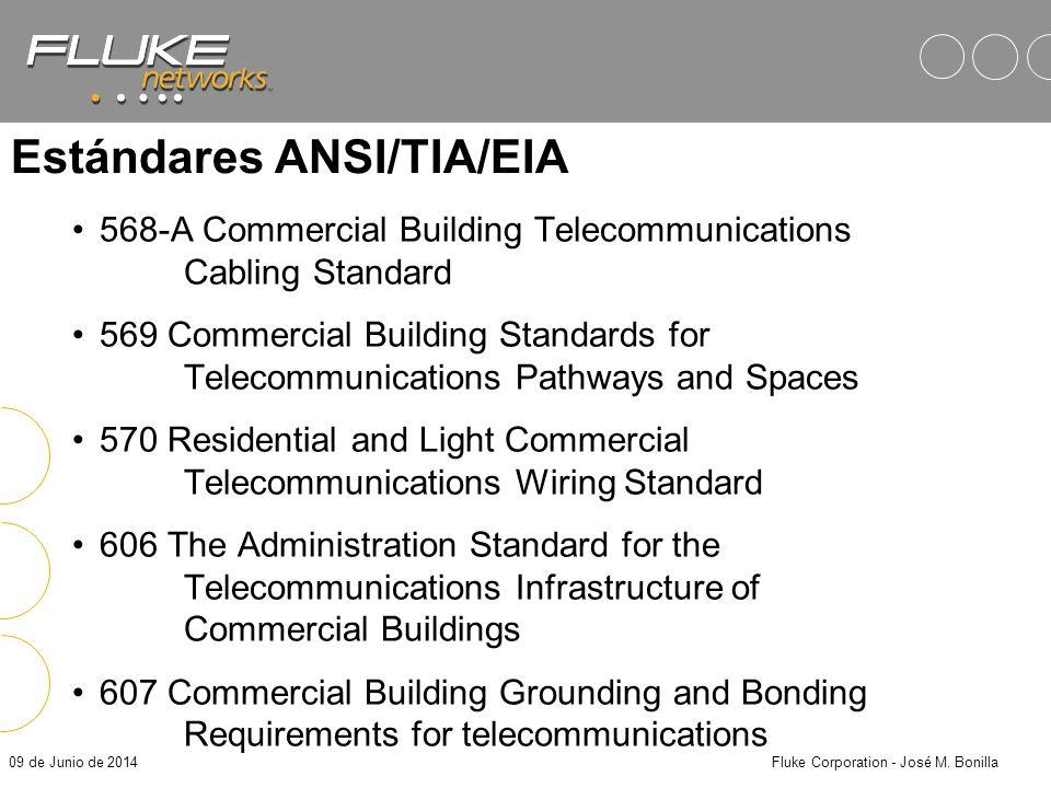 09 de Junio de 2014Fluke Corporation - José M. Bonilla Papel de los Estándares Especificaciones de los Componentes –Define el desempeño y grado de cab