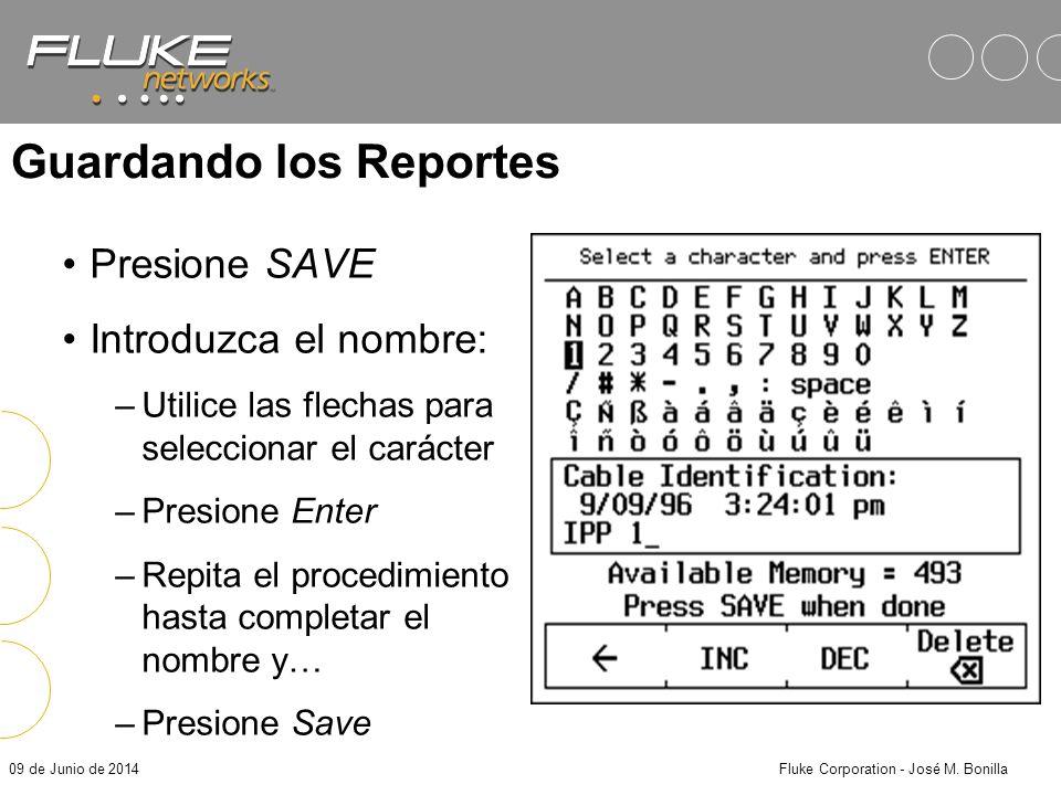 09 de Junio de 2014Fluke Corporation - José M. Bonilla Resultados de AutoTest Autotest corre todas las pruebas del estándar especificado –TSB-67: »Map