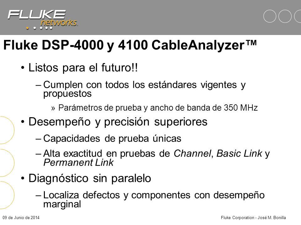 09 de Junio de 2014Fluke Corporation - José M. Bonilla Conclusiones Los estándares para nuevos sistemas de cableado están propuestos –Los comités de l