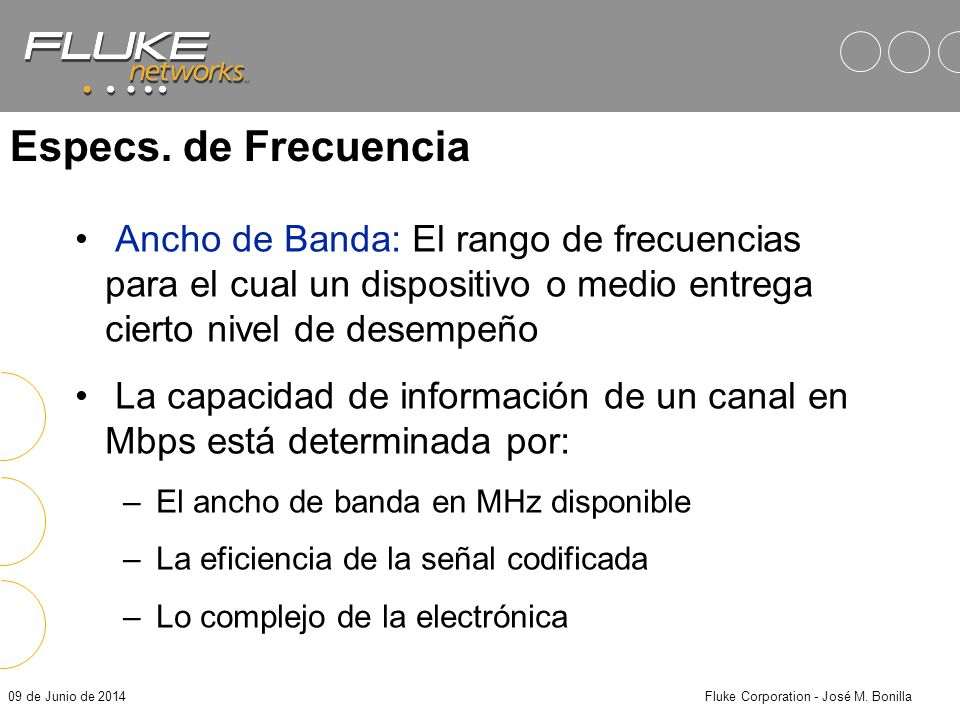 09 de Junio de 2014Fluke Corporation - José M. Bonilla Especs. de Frecuencia Megahertz (MHz) no es igual a Megabits por segundo (Mbps) MHz: Es una uni