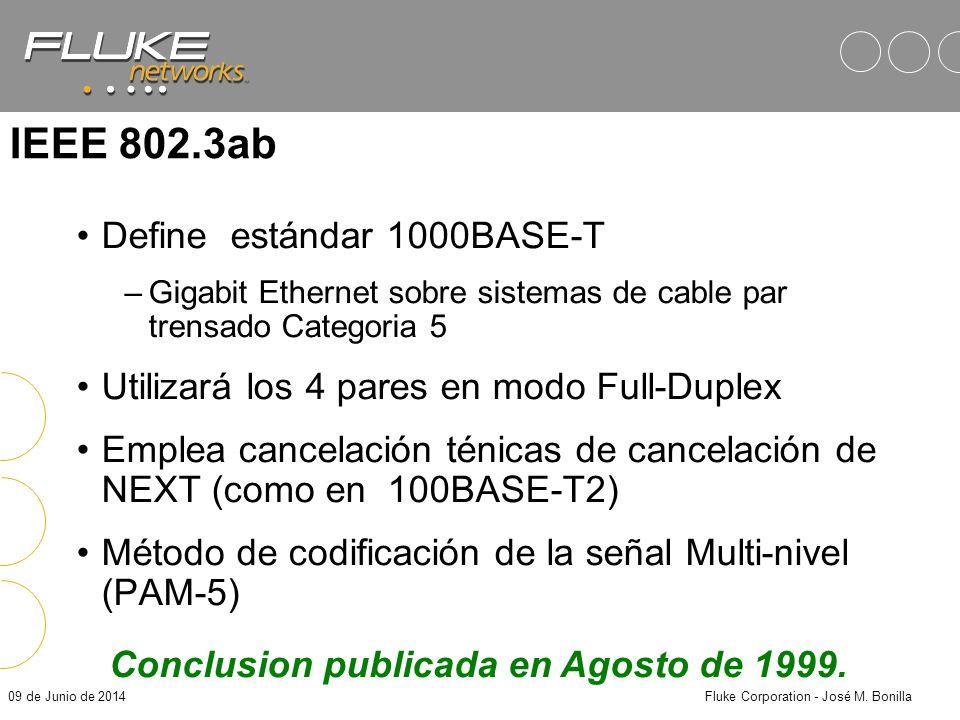09 de Junio de 2014Fluke Corporation - José M. Bonilla Vistazo a las actividades de la IEEE en Gigabit Ethernet IEEE 802.3z – Gigabit Ethernet emplean
