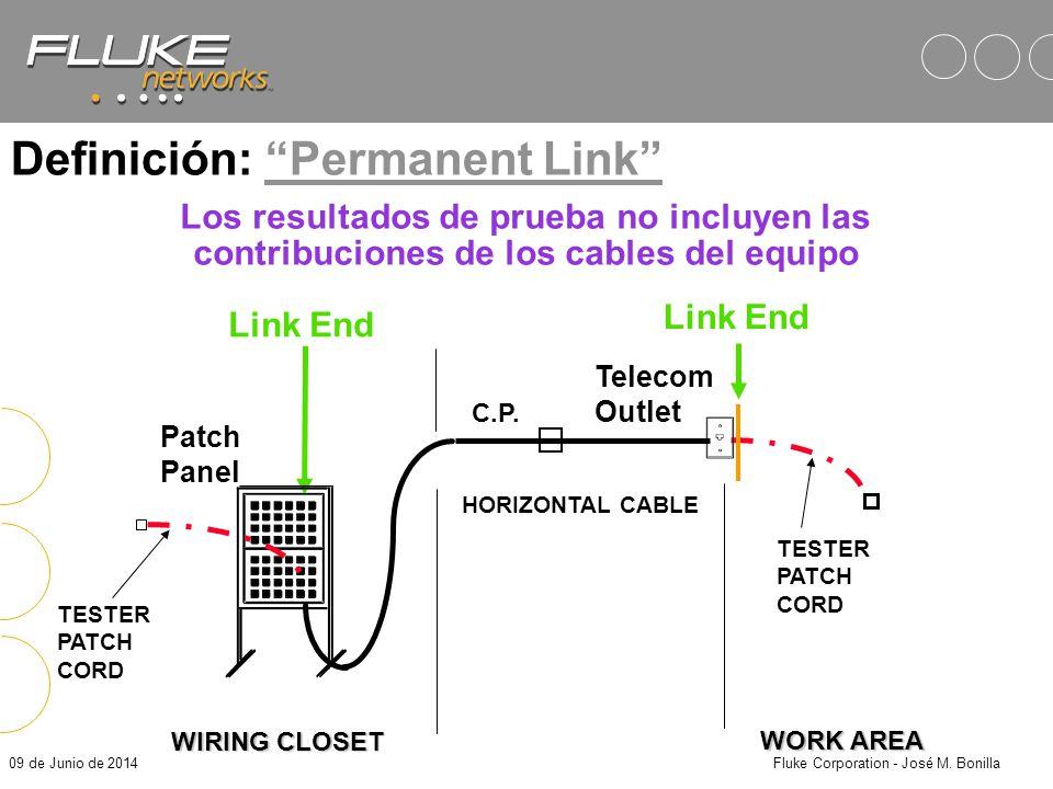 09 de Junio de 2014Fluke Corporation - José M. Bonilla WORK AREA Link End TESTER PATCH CORD PATCH PANEL HORIZONTAL CABLE Telecom Outlet TESTER PATCH C