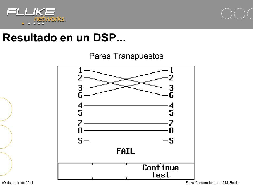 09 de Junio de 2014Fluke Corporation - José M. Bonilla Pares Transpuestos Ejemplo: Mezcla los estándares T568A y T568B = Problemas