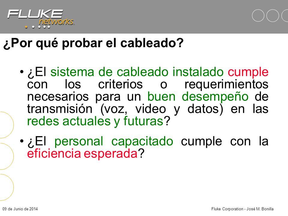 09 de Junio de 2014Fluke Corporation - José M. Bonilla Objetivos Análisis de los requerimientos de transmisión necesarios para redes de par trenzado.