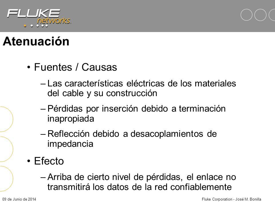 09 de Junio de 2014Fluke Corporation - José M. Bonilla Atenuación Es la cantidad de señal perdida dentro del enlace de transmisión, expresada en Decib